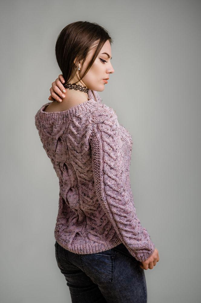 вязаный свитер, подарок женщине, нежно-розовый