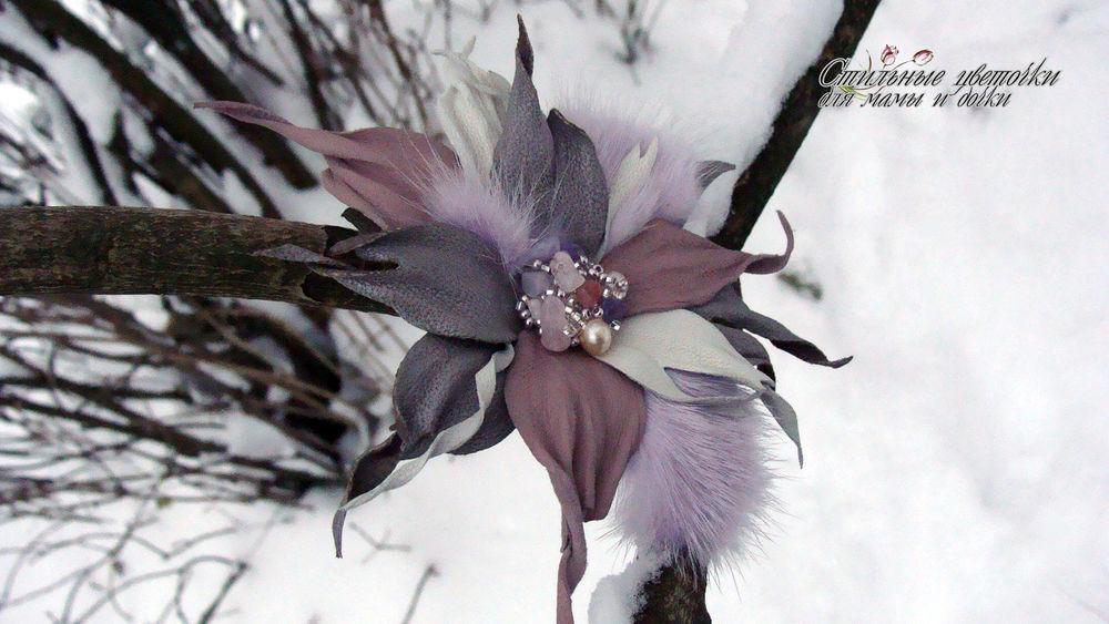 цветы из кожи, украшения своими руками