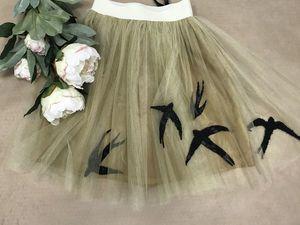 """Эксклюзивная юбка""""Птицы"""" с вышивкой!-50%. Ярмарка Мастеров - ручная работа, handmade."""