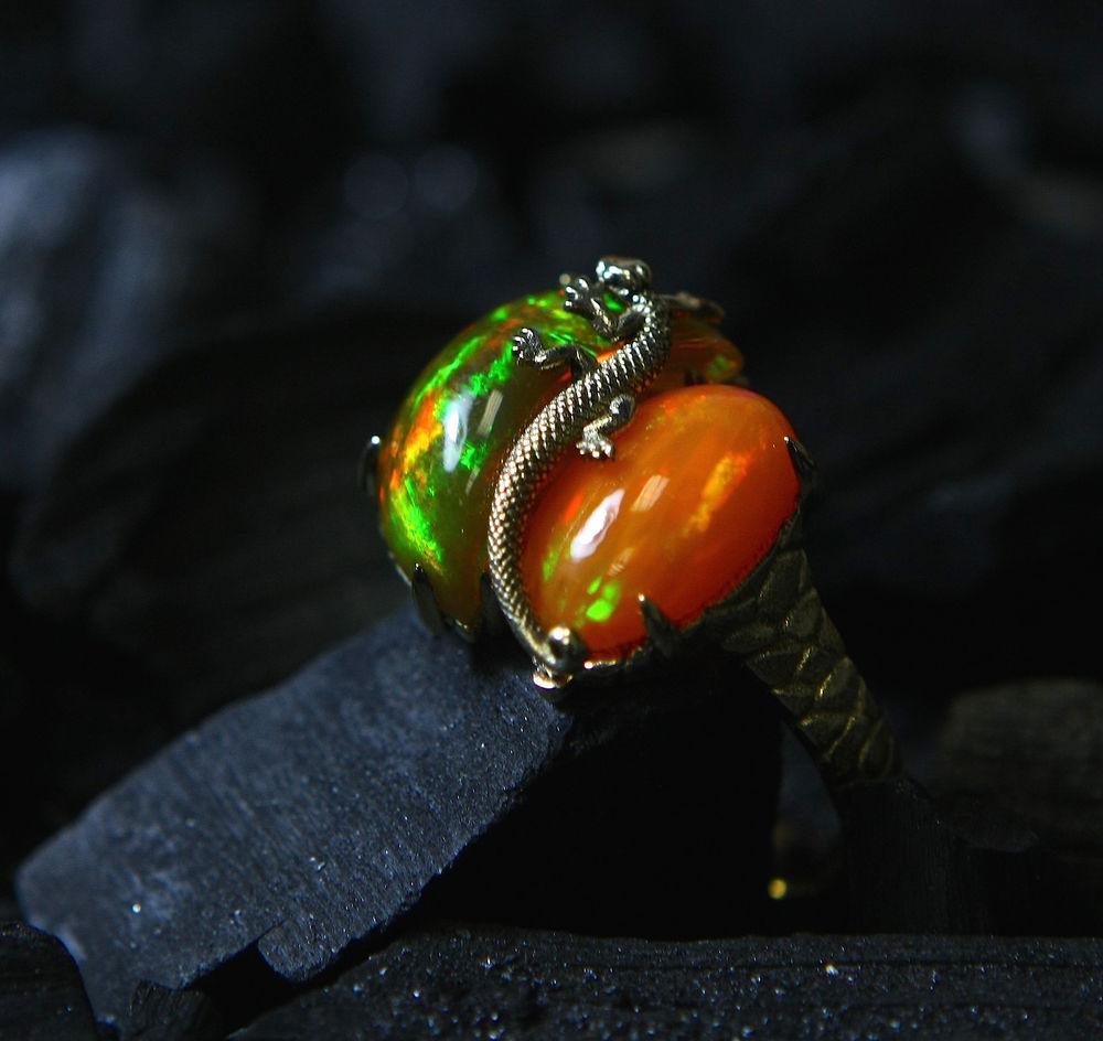 ящерица, золотое кольцо, золотое кольцо с опалом, опал в золоте, опал натуральный