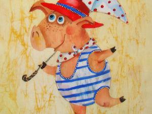 Свинки на холсте. Ярмарка Мастеров - ручная работа, handmade.