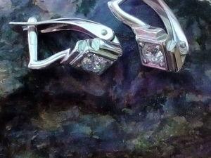 Серьги с Муассанитом. Ярмарка Мастеров - ручная работа, handmade.