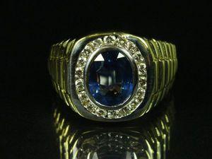 Кольцо для него!! Сапфир с бриллиантами золото18К | Ярмарка Мастеров - ручная работа, handmade