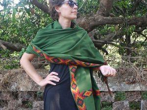 """Акция """"Благодарение лету"""" ! Зеленые палантины по стоимости 1700 р. Ярмарка Мастеров - ручная работа, handmade."""