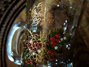 Расписываем красками по стеклу новогодние бокалы для согревающего напитка. Ярмарка Мастеров - ручная работа, handmade.
