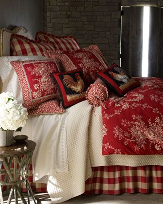 """""""French Country"""" Bed Linens & Houndstooth Quilt Sets by Sherry Kline Home Collection at Horchow. have to have the buffalo checked dust skirt"""