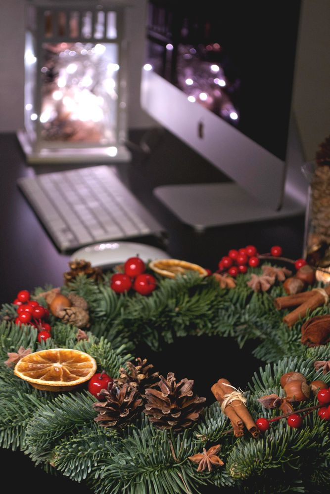 венок, новогодний декор, подарок на новый год 2017, натуральная ель
