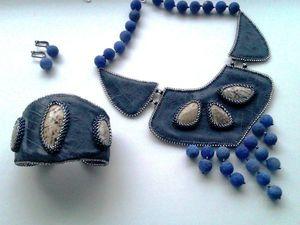 Аукцион на вышитые бисером кожаные колье и браслет с натуральными камнями - закрыт.. Ярмарка Мастеров - ручная работа, handmade.