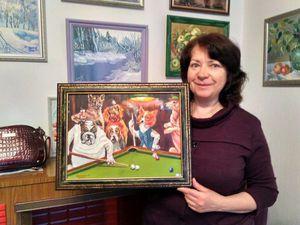 Картина Собаки играют в бильярд написана   Ярмарка Мастеров - ручная работа, handmade