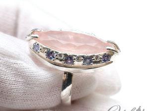Кольцо с розовым кварцем, танзанитами и фианитами (видео). Ярмарка Мастеров - ручная работа, handmade.