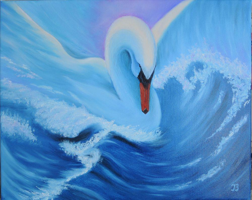 волна, лебедь, символ, символы, символика, птица, картина маслом, картина маслом море, картина на холсте, ирина белозерова