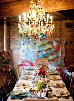 Boho {table} decor inspiration.  Love the chandelier | via colorsizzle