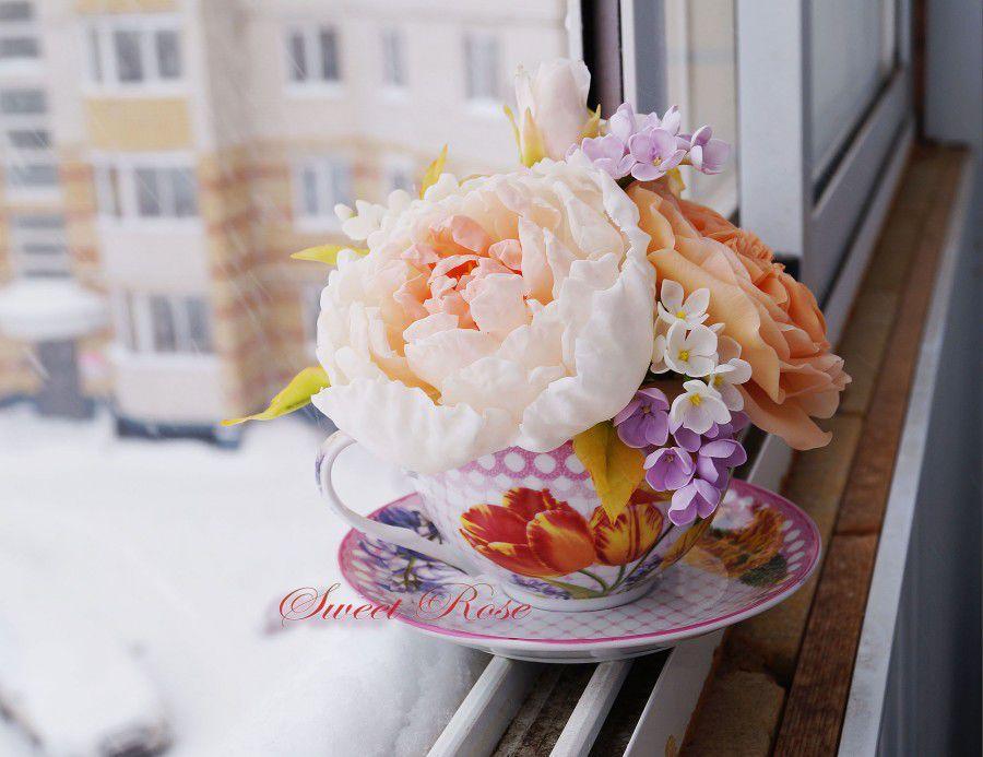 цветы из полимерной глины, подарок