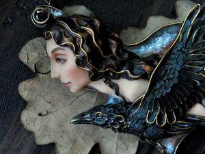 """Анонс новинки! Колье """"Custoditur ab spiritu Corvus"""" скульптурная миниатюра. Ярмарка Мастеров - ручная работа, handmade."""