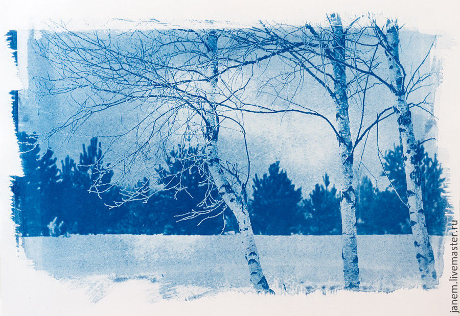 Cyanotype: print photos on watercolor paper