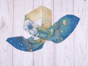 """Новый платок """"Летний дождь"""". Ярмарка Мастеров - ручная работа, handmade."""