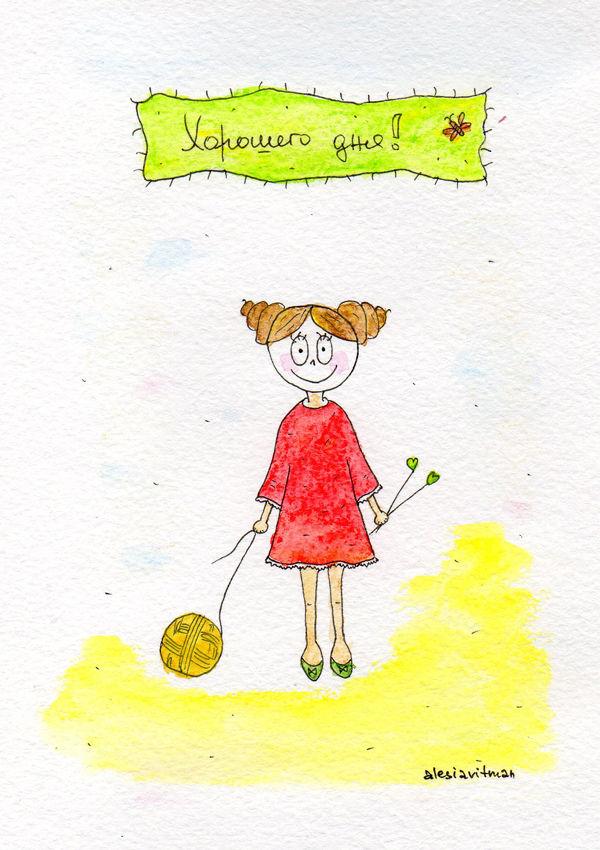 носочная, на вязальную тему, сердечком, красное платье, девочка, хорошего дня