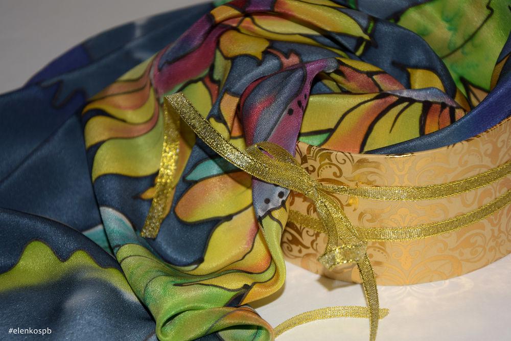 шёлковый платок, батик handmade