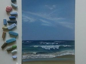 Рисуем море сухой пастелью. Ярмарка Мастеров - ручная работа, handmade.