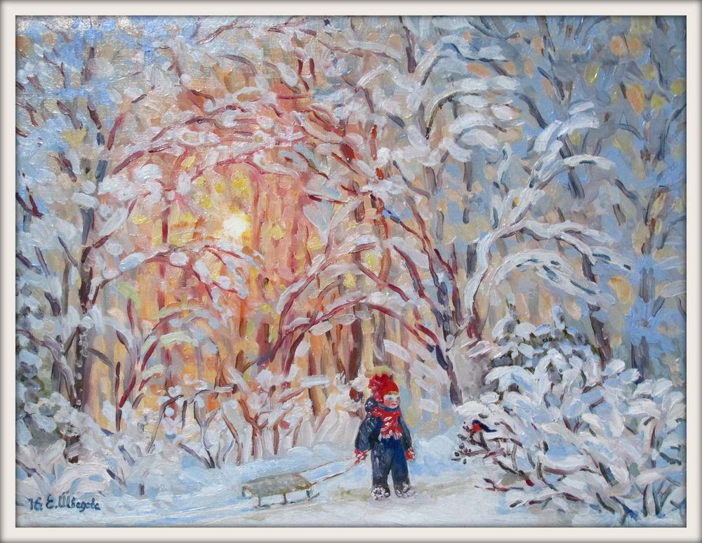 зимний пейзаж, купить в москве, акварельная живопись
