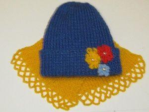 Комплект вязаный шапка и шарф Зимние цветы.. Ярмарка Мастеров - ручная работа, handmade.