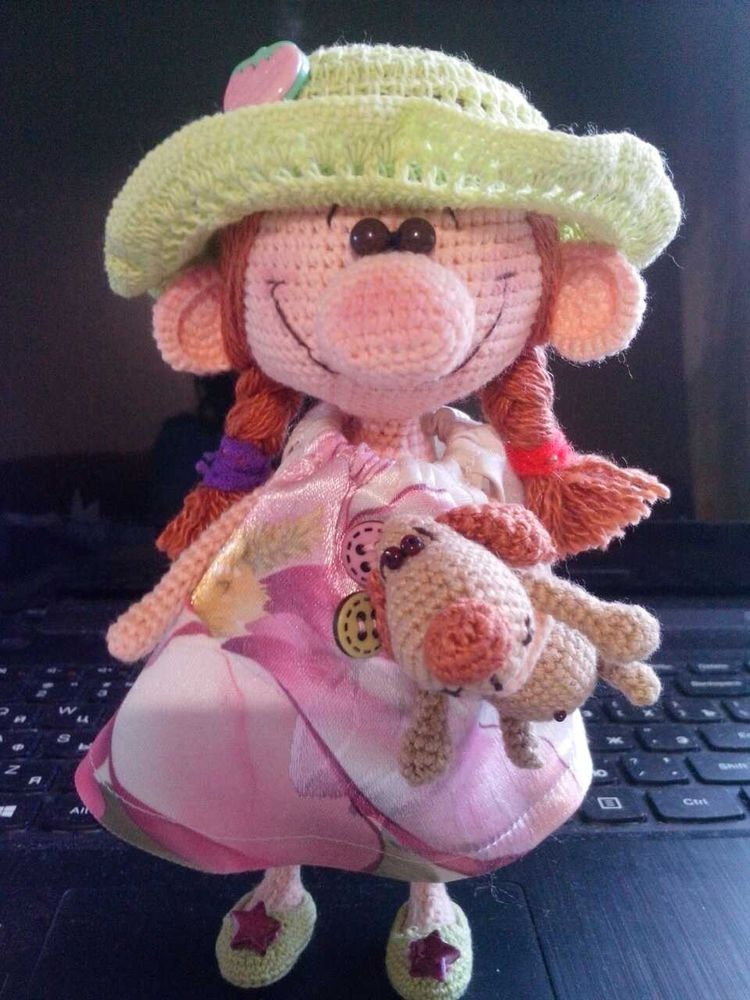 кукла амигуруми, вязание крючком, интерьерная кукла, собака амигуруми