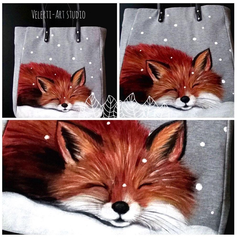 аукцион сегодня, сумка, сумка женская, сумка шоппер, лиса, лисичка, зима, новый нод, для женщин, рыжая лиса