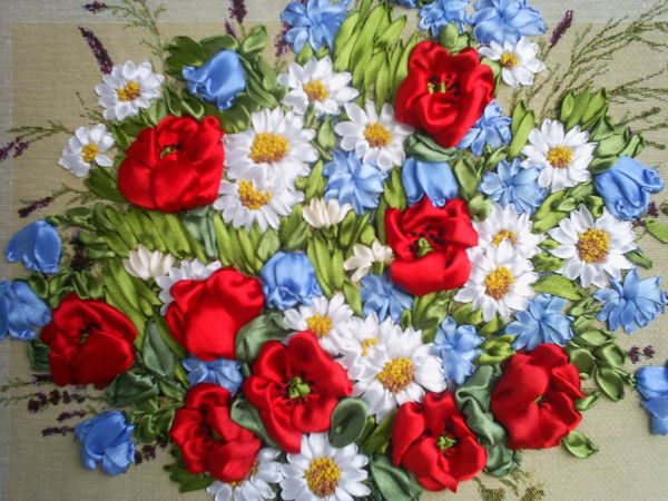 вышивка лентами | Ярмарка Мастеров - ручная работа, handmade