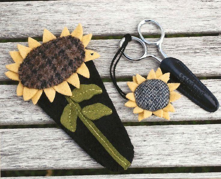 sunflower wool applique pattern   Primitive Folk Art Wool Applique Pattern: SUNFLOWER SCISSORS