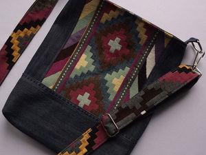 Шьем из гобелена и джинсовой ткани ремешок для сумочки. Ярмарка Мастеров - ручная работа, handmade.