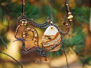 Процесс создания колье «Осенний пейзаж» из яшмы и медной проволоки. Ярмарка Мастеров - ручная работа, handmade.