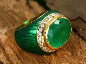 Гламурное мужское золотое кольцо с изумрудом+эмаль!!!. Ярмарка Мастеров - ручная работа, handmade.