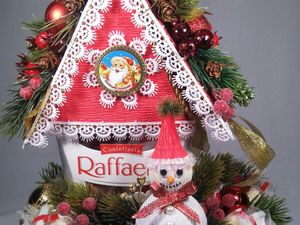 Новогодний домик Деда Мороза из коробки конфет: мастер-класс. Ярмарка Мастеров - ручная работа, handmade.