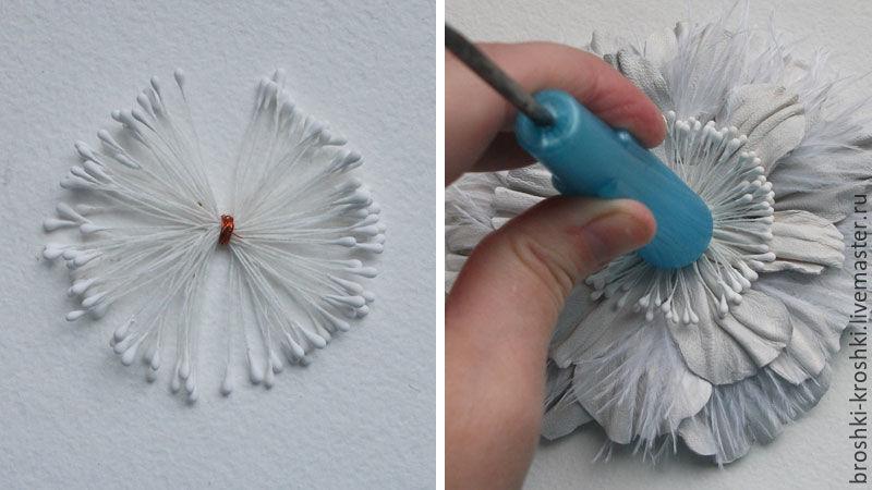 сделать цветок из кожи