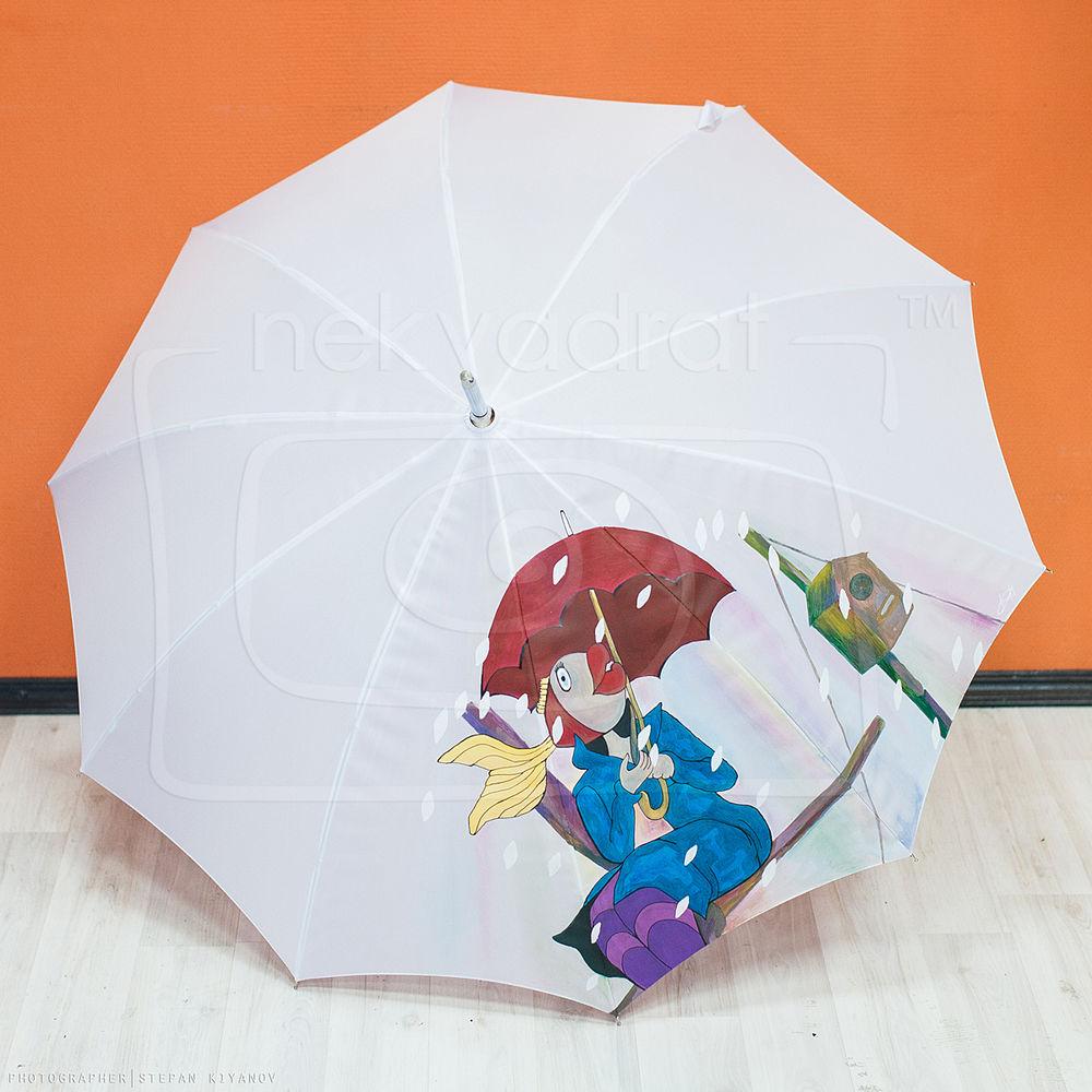 зонт, в синем море