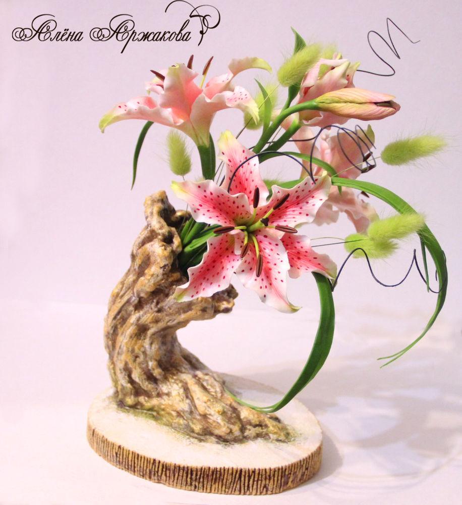хокку, холодный фарфор, цветочная скульптура