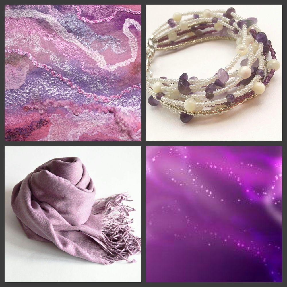 евгения филиппова, пурпурный, сиреневый, космос, коллаж, браслет, палантин, лавандовый