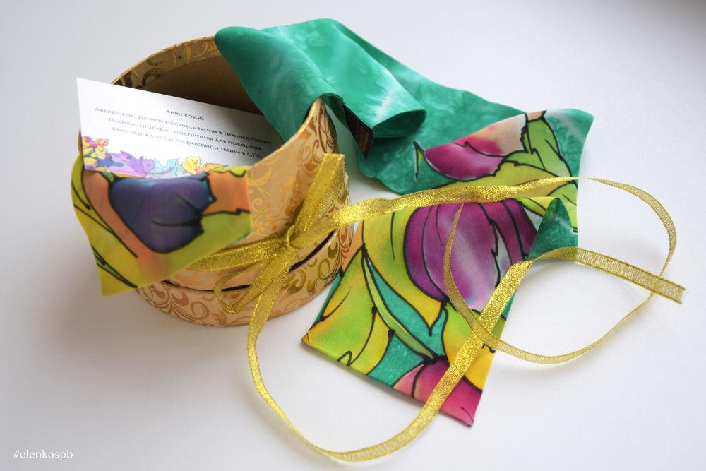 батик платок, подарок на день рождения, батик шарф