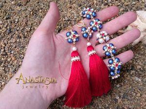 Создаем браслет и серьги-кисти в морском стиле «Пора в круиз» | Ярмарка Мастеров - ручная работа, handmade