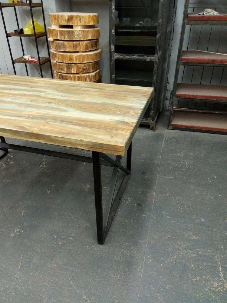 стол в стиле лофт, мебель в стиле лофт, обеденный стол, стол лофт из ясеня, правильный стол