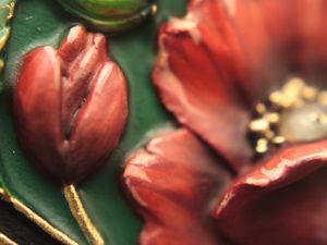 Маки. Кулон ручной работы из полимерной глины с камнем малахит и аметист. Ярмарка Мастеров - ручная работа, handmade.