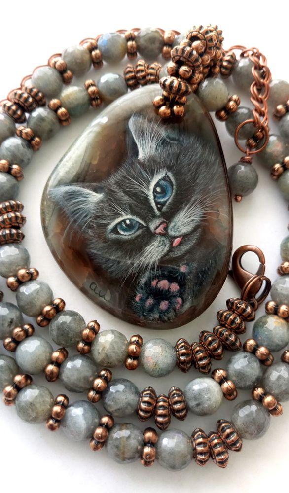 кот, кулон с росписью