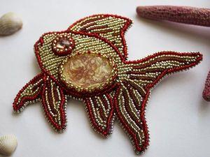 Вышиваем бисером брошь «Рыбка». Ярмарка Мастеров - ручная работа, handmade.