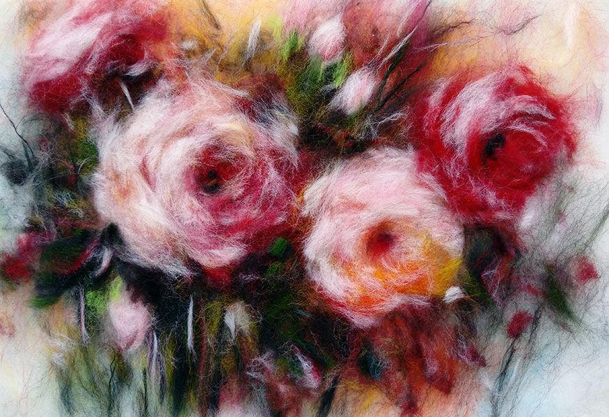 розы, живопись шерстью, картины шерстью, шерстяная акварель