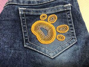 Украшаем джинсовую одежду вышивкой из бисера. Ярмарка Мастеров - ручная работа, handmade.