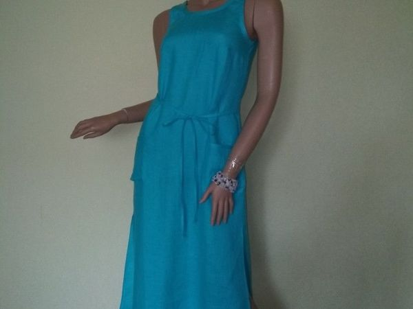 Платье-сарафан льняной голубой | Ярмарка Мастеров - ручная работа, handmade