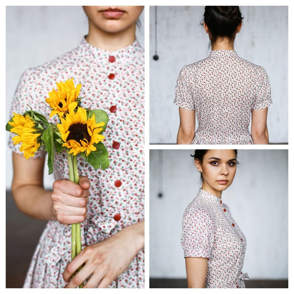 авторские платья, белое платье с цветами