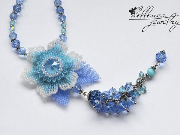 Создаем колье с цветком «Summer Blue»   Ярмарка Мастеров - ручная работа, handmade