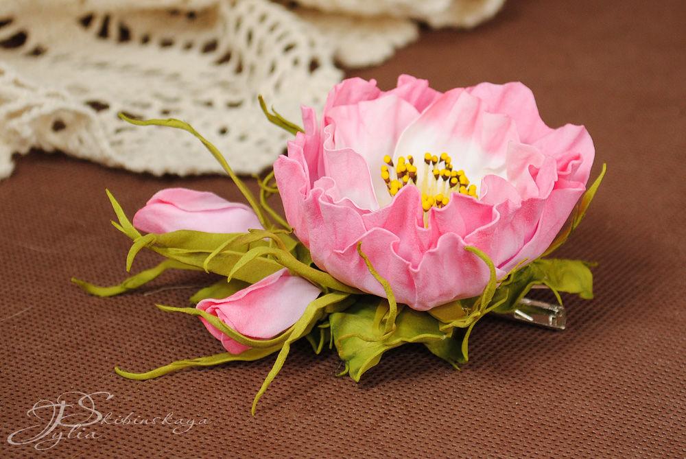 роза из фоамирана, роспись фарфора