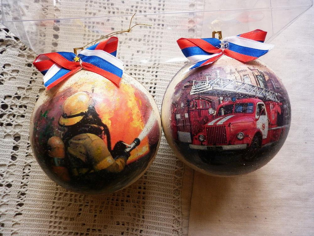 новогодний подарок, шарики декупаж